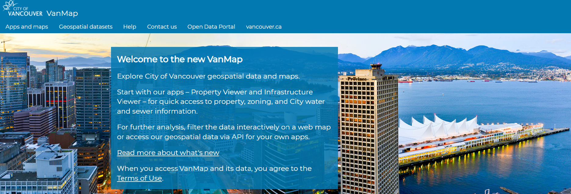 Welcome page for the City's VanMap site