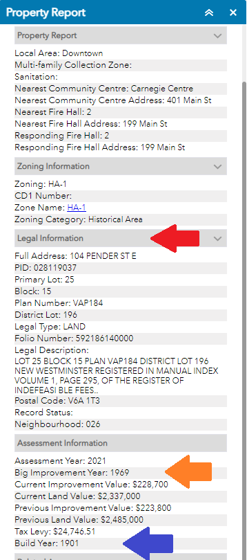 Screen shot of the property report for 104 Pender St E