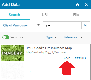 Screen shot showing arrow pointing to the ADD option