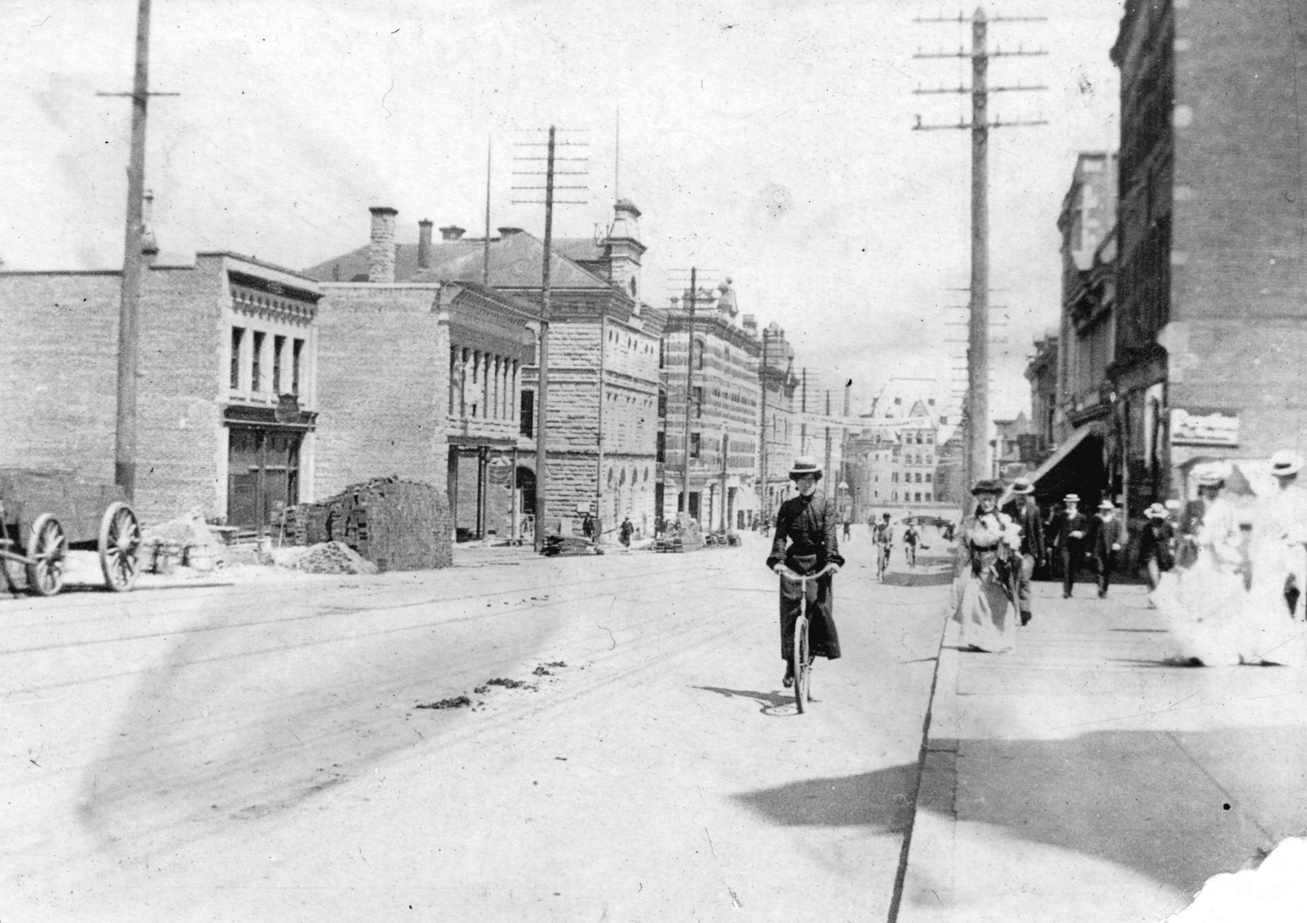 Cycling on Granville Street. Reference code: AM54-S4-: Str P361