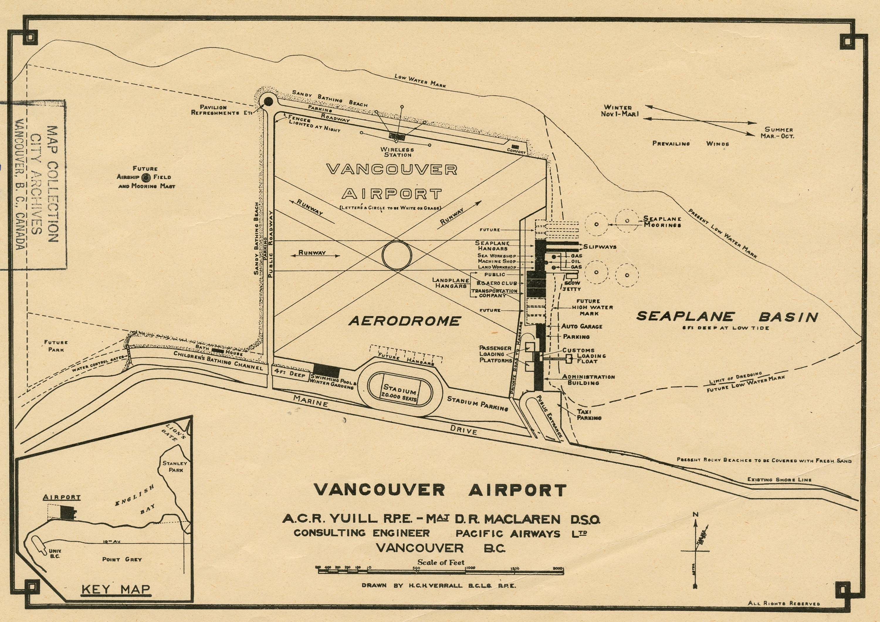Vancouver airport plan, 1928. Detail from reference code AM1594-: MAP 377-: 1972-568.2.