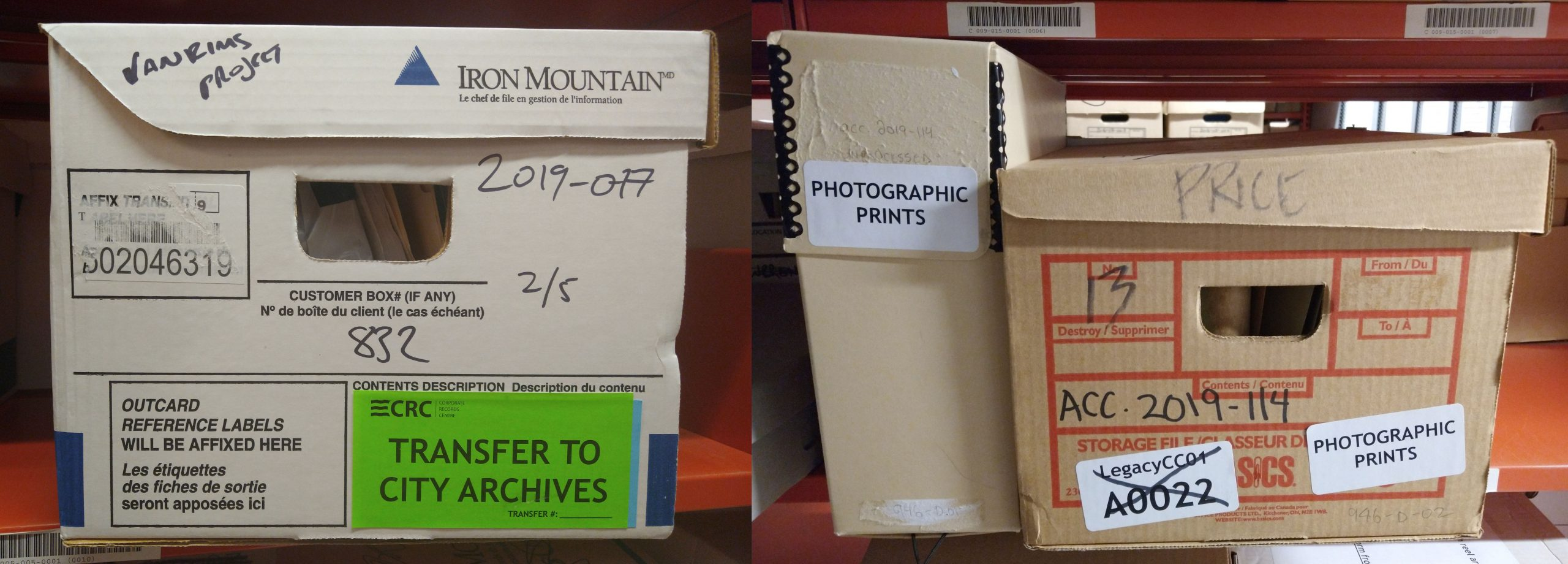 New records from 2019: a box of transferred City records (left) and two boxes of records privately donated (right). Photo by Kira Baker