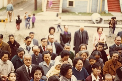 Strathcona residents listening to speakers outside SPOTA building at 820 Jackson Street, 1971-1973. Reference code: AM734-S4-: 2009-008.13