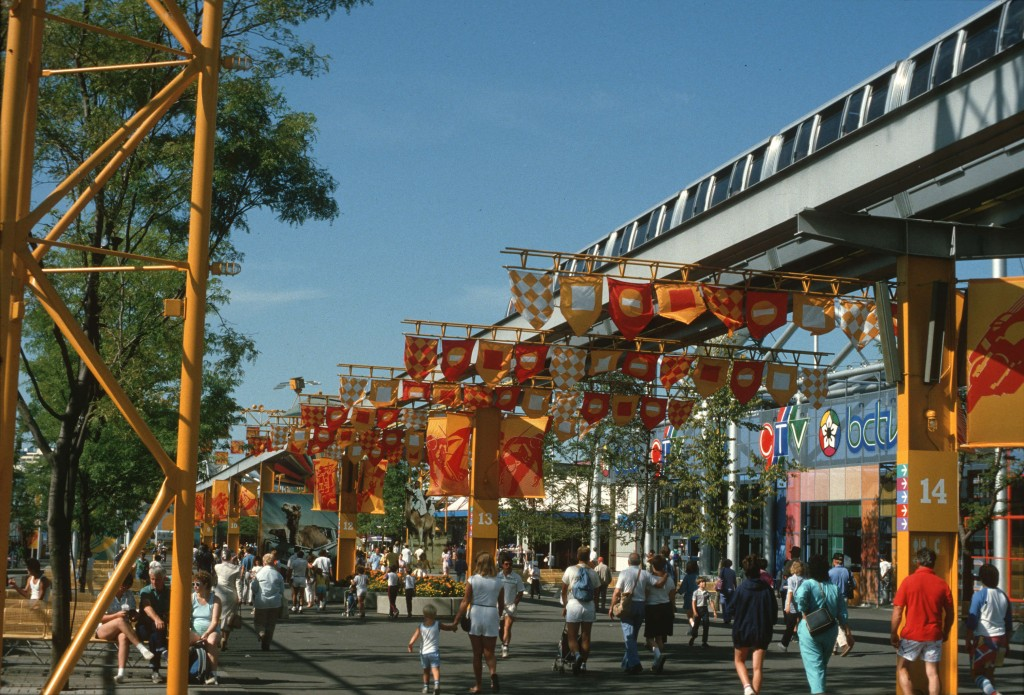 Expo 86, Yellow Zone (BCTV broadcasting studio on right). Reference code: AM1551-S1-: 2010-006.397