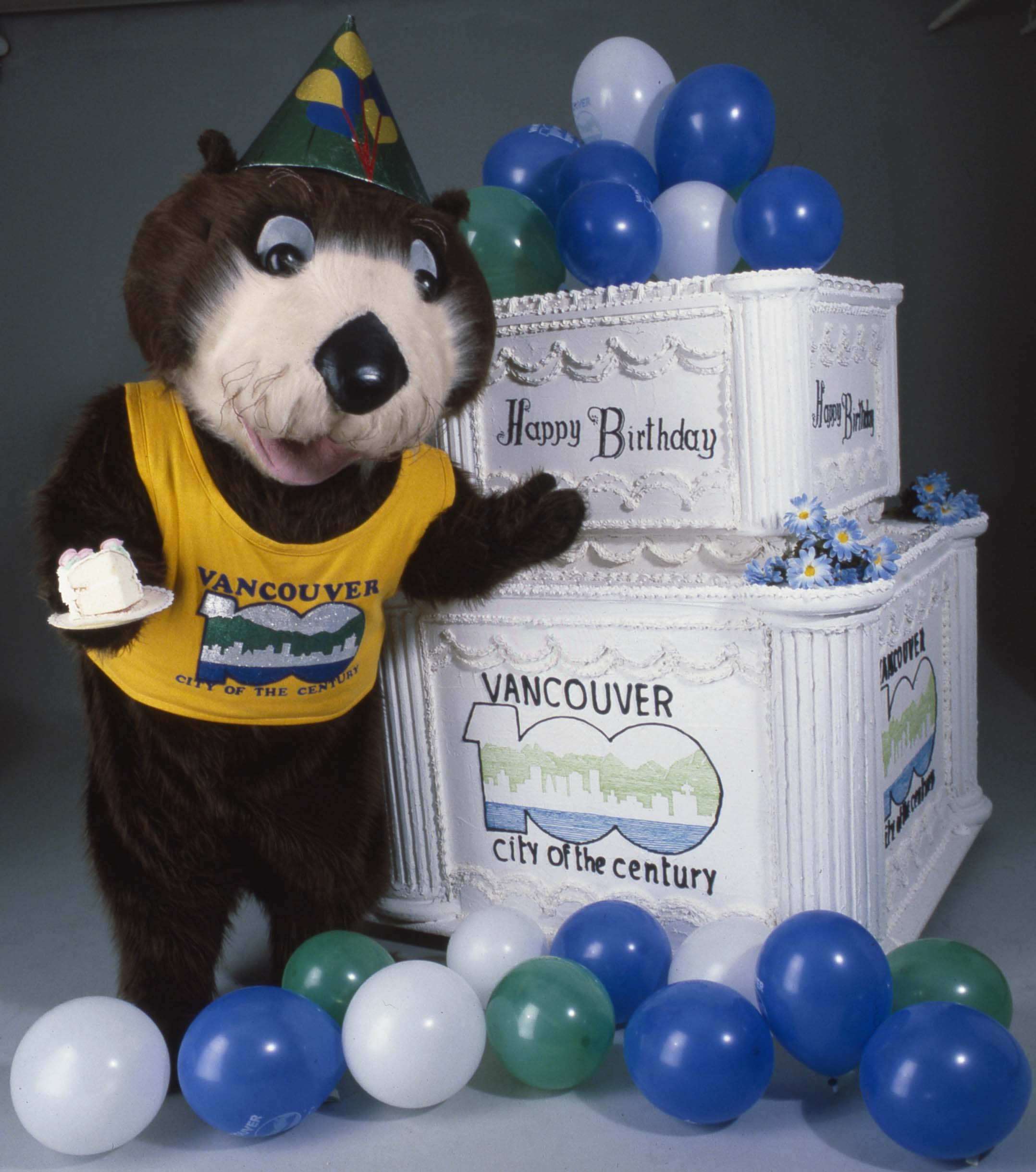 Tillicum the otter, mascot for the Vancouver Centennial Commission's celebrations. Identifier 2011-010.2218.