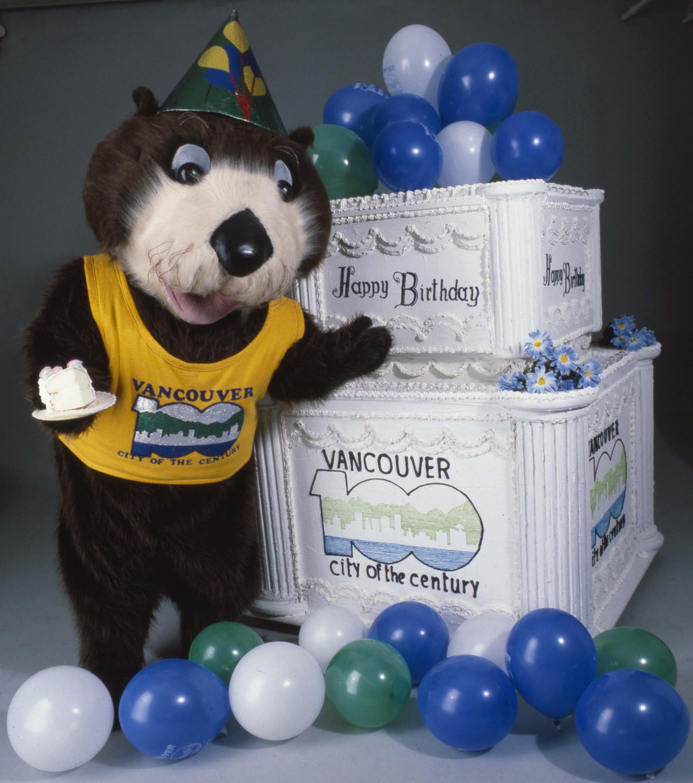 Tillicum the otter, mascot for the Vancouver Centennial Commission's celebrations. Identifier 2011-010.2218.