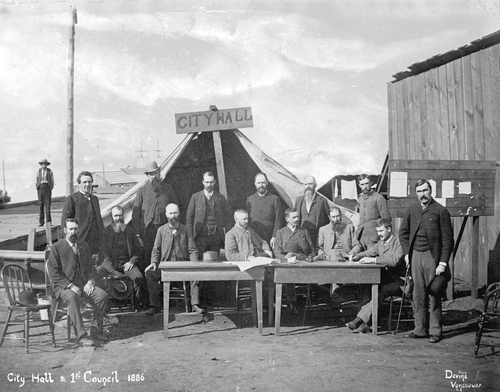 1886 photograph of a reconstructed tent where City officials conducted business after the Great Fire