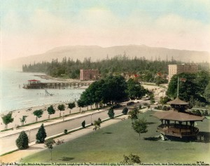 English Bay Beach with Sylvia Court Apartments in 1916