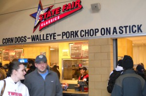 Food on sticks at the Twins game