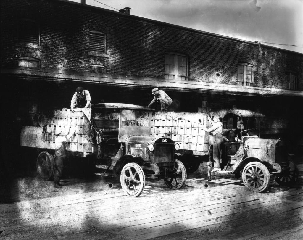Beer trucks being loaded