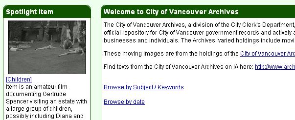 City of Vancouver Archives' film page