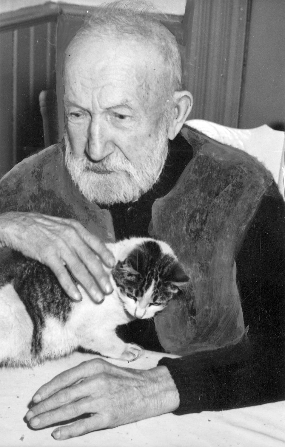William Sumner and cat, Nov. 29, 1946. Reference code AM54-S4-2-: CVA 371-1838
