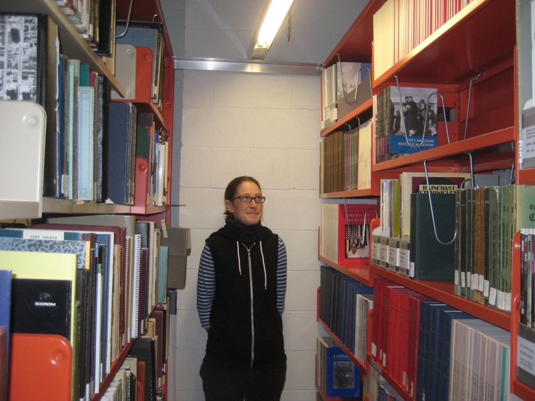 Me, admiring the serials section (right). Photograph by Cindy McLellan.