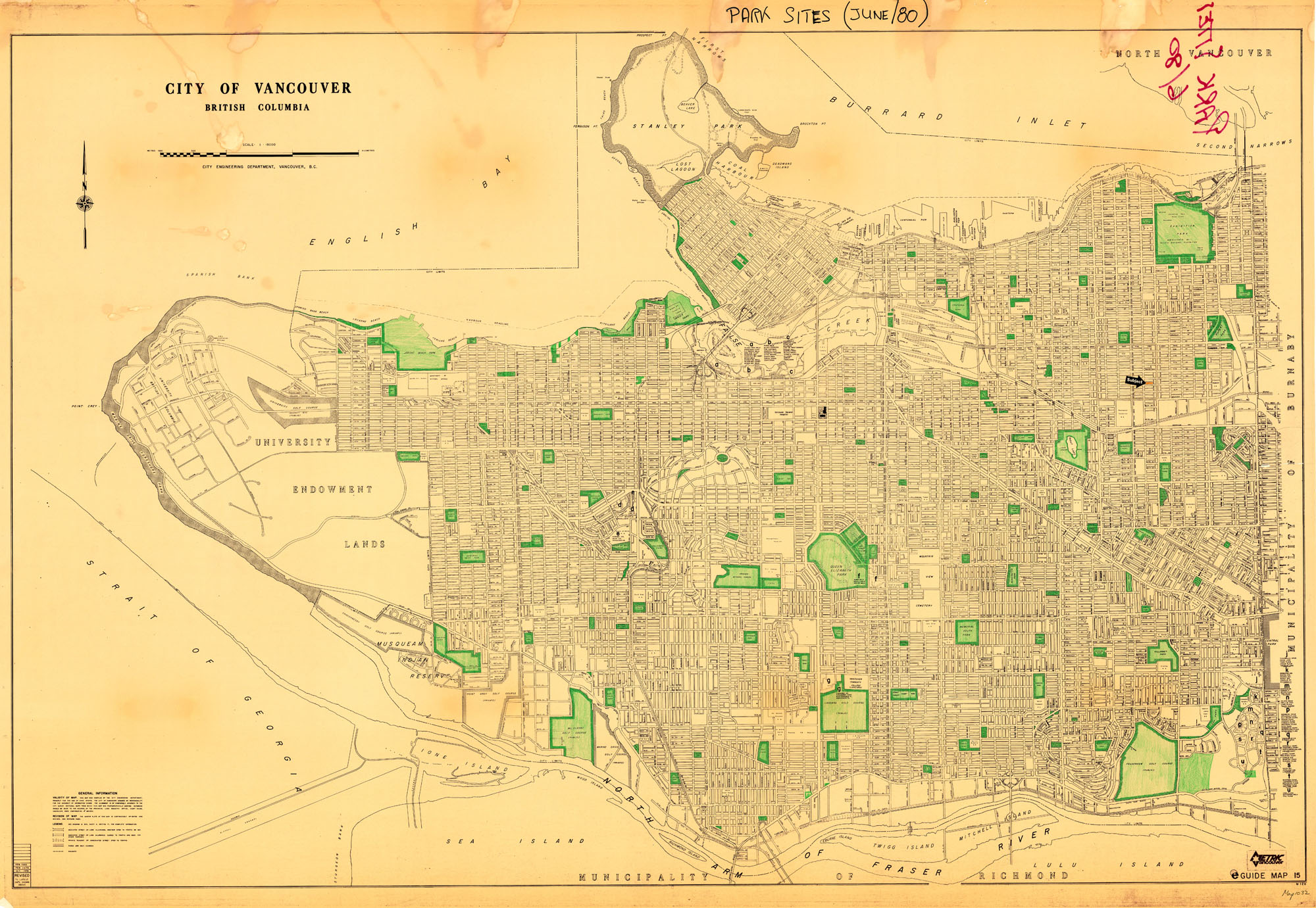 entire map of Vancouver with parks coloured green