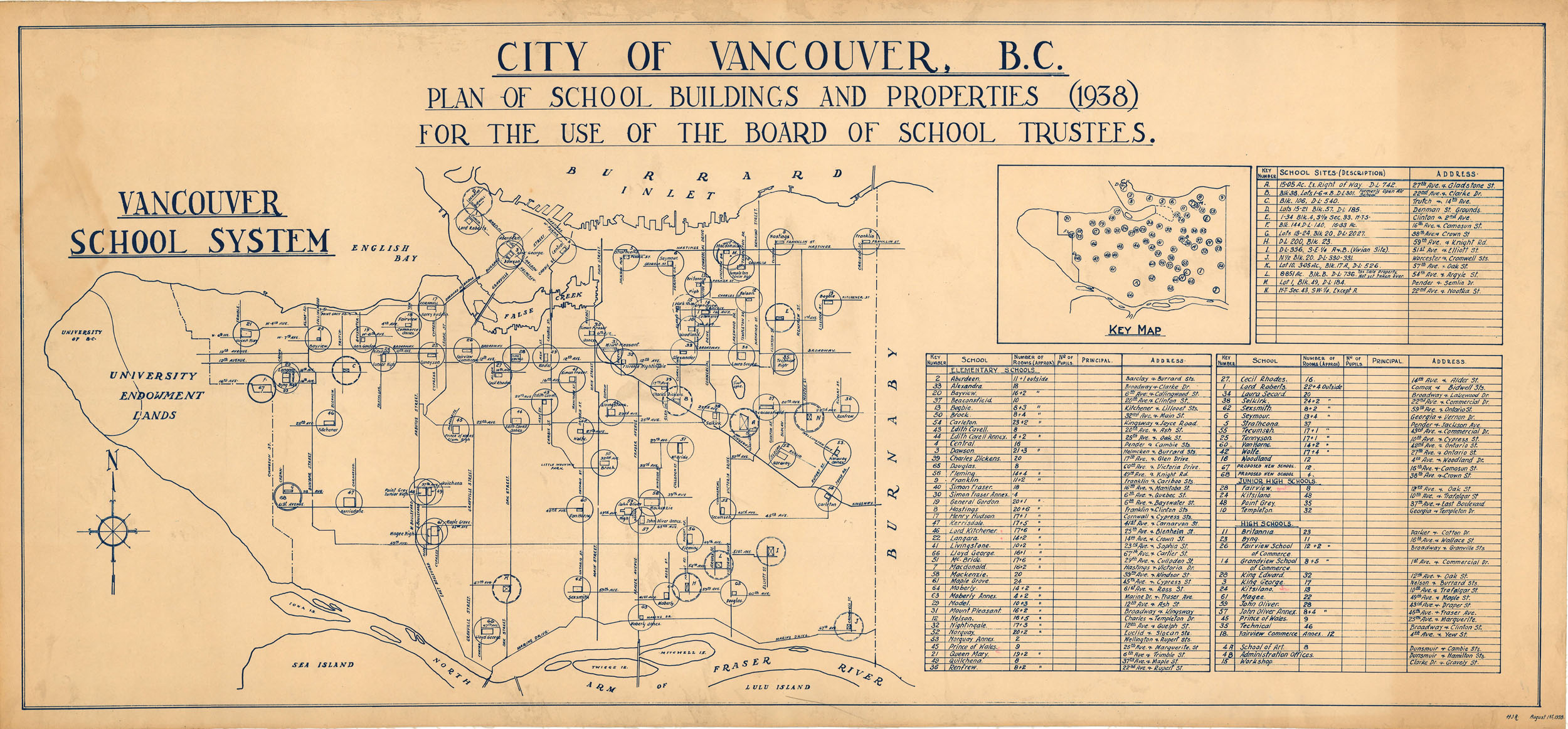 overview of map showing schools and information