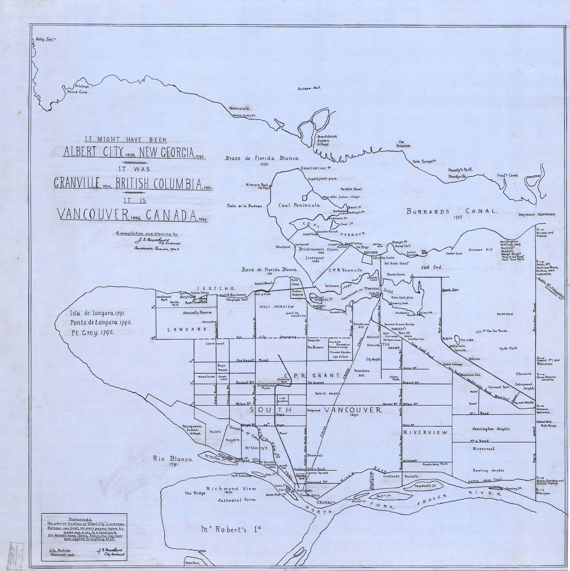 blue linen map of vancouver