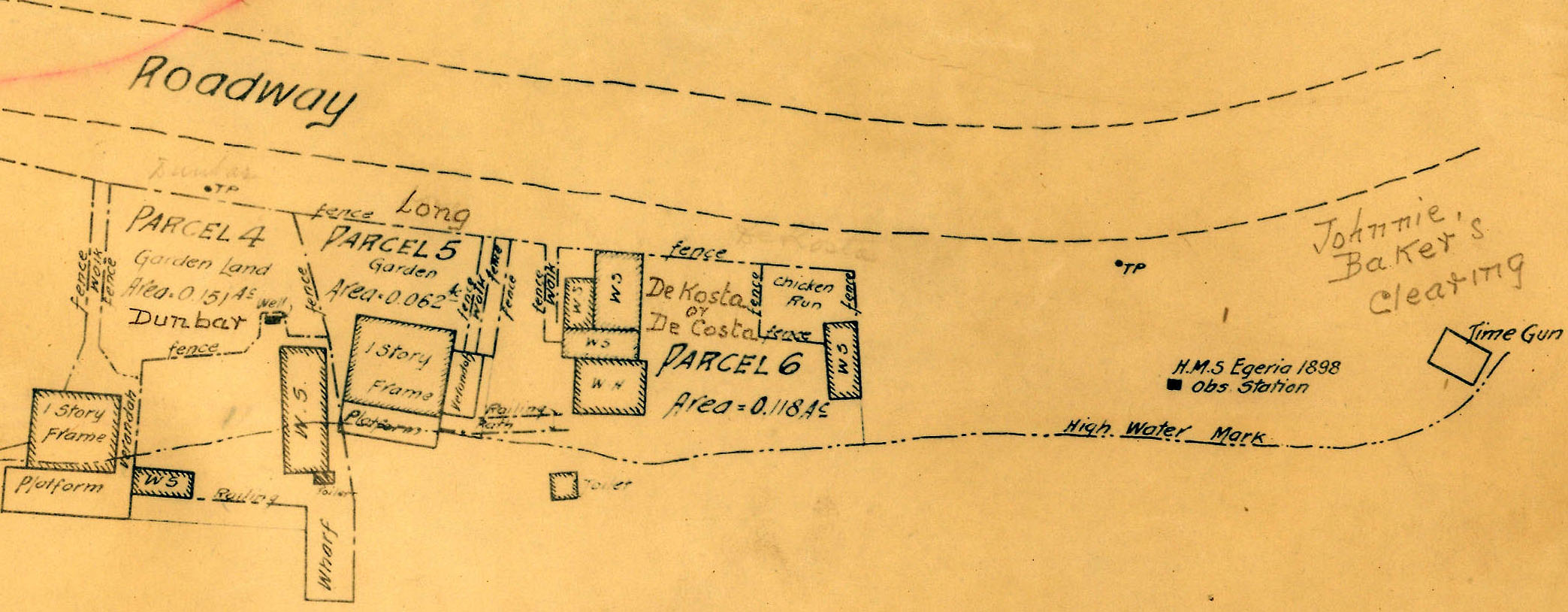 sketch of land, buildings and features