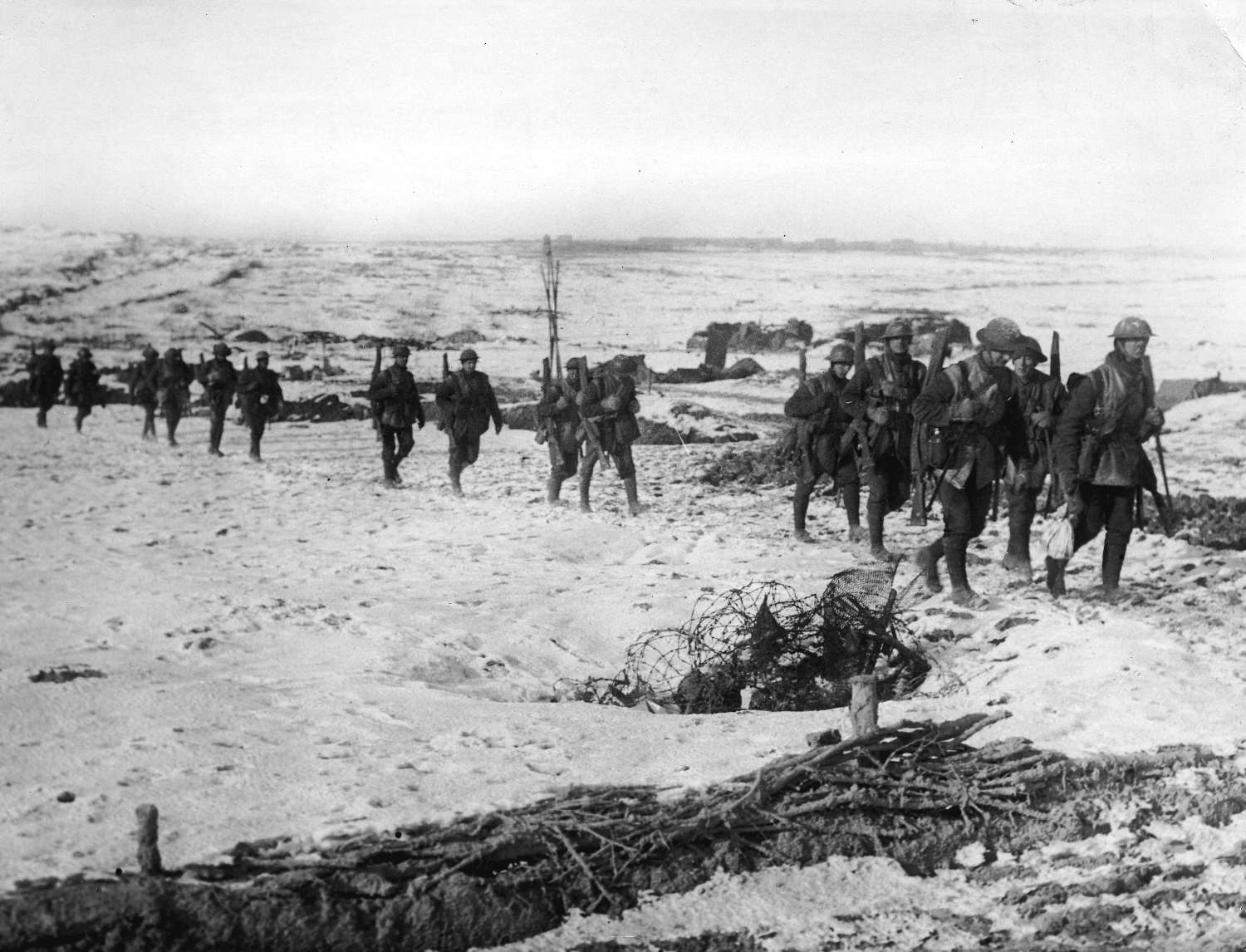 troops marching on snow