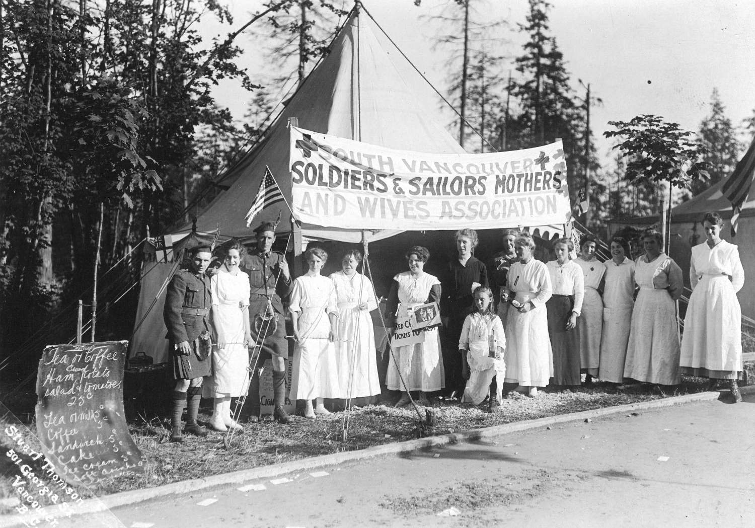 South Vancouver Soldiers and Sailors Mothers and Wives Association refreshment tent, 1917. Stuart Thomson, photographer. Reference code  AM54-S4-: Mil P36.