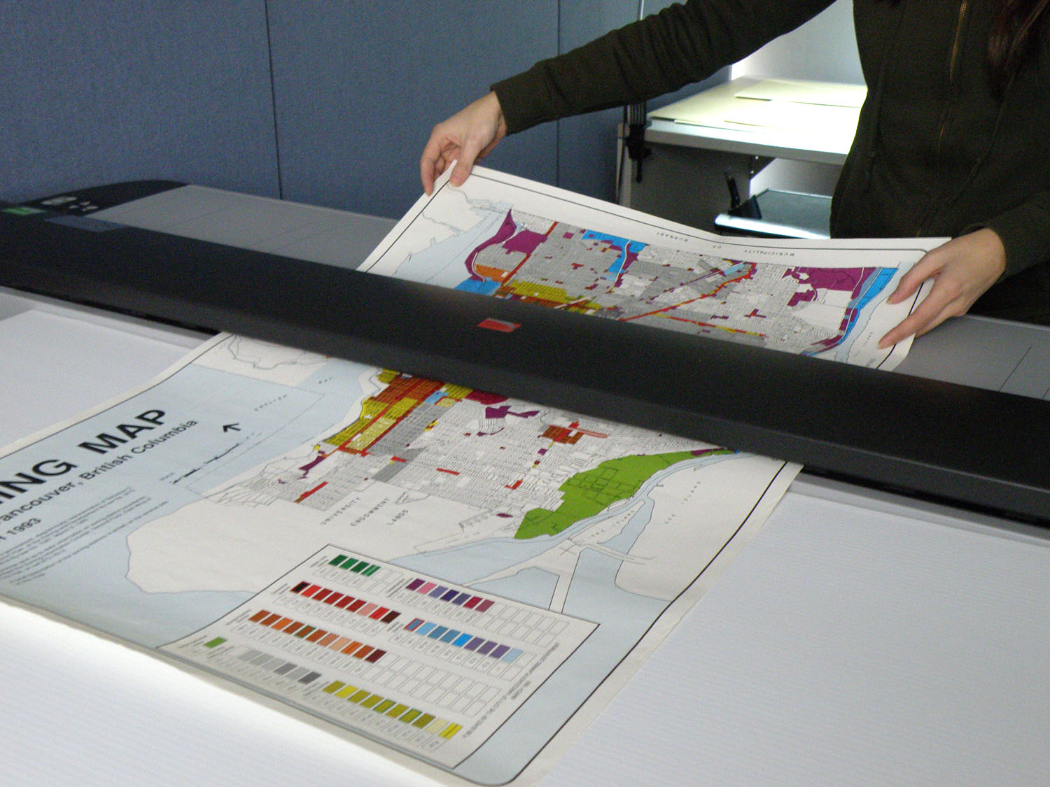 map going through scanner