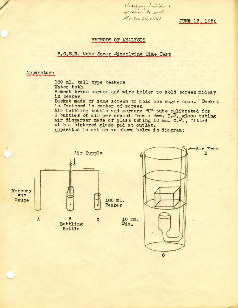 A BC Sugar standard test used on cube sugar. 1957. Reference code: AM1592-1-S1-F27.