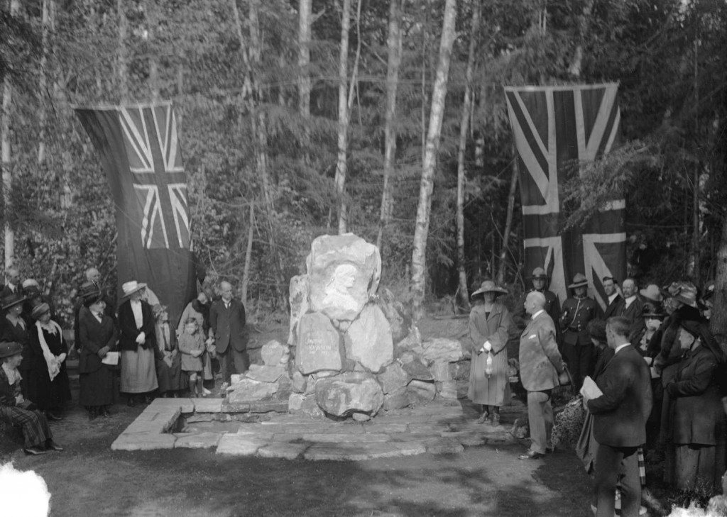 Ceremony at the memorial to Pauline Johnson, Stanley Park, Vancouver, B.C., 1922. Reference code AM1535-: CVA 99-1328