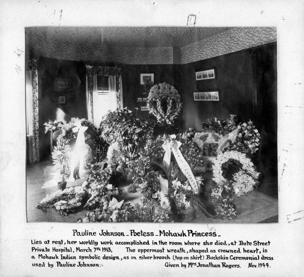 Pauline Johnson's coffin and flowers in the room in which she died at the Bute Street Hospital, March 7, 1912. Reference Code AM1102-S3-: LEG427.7