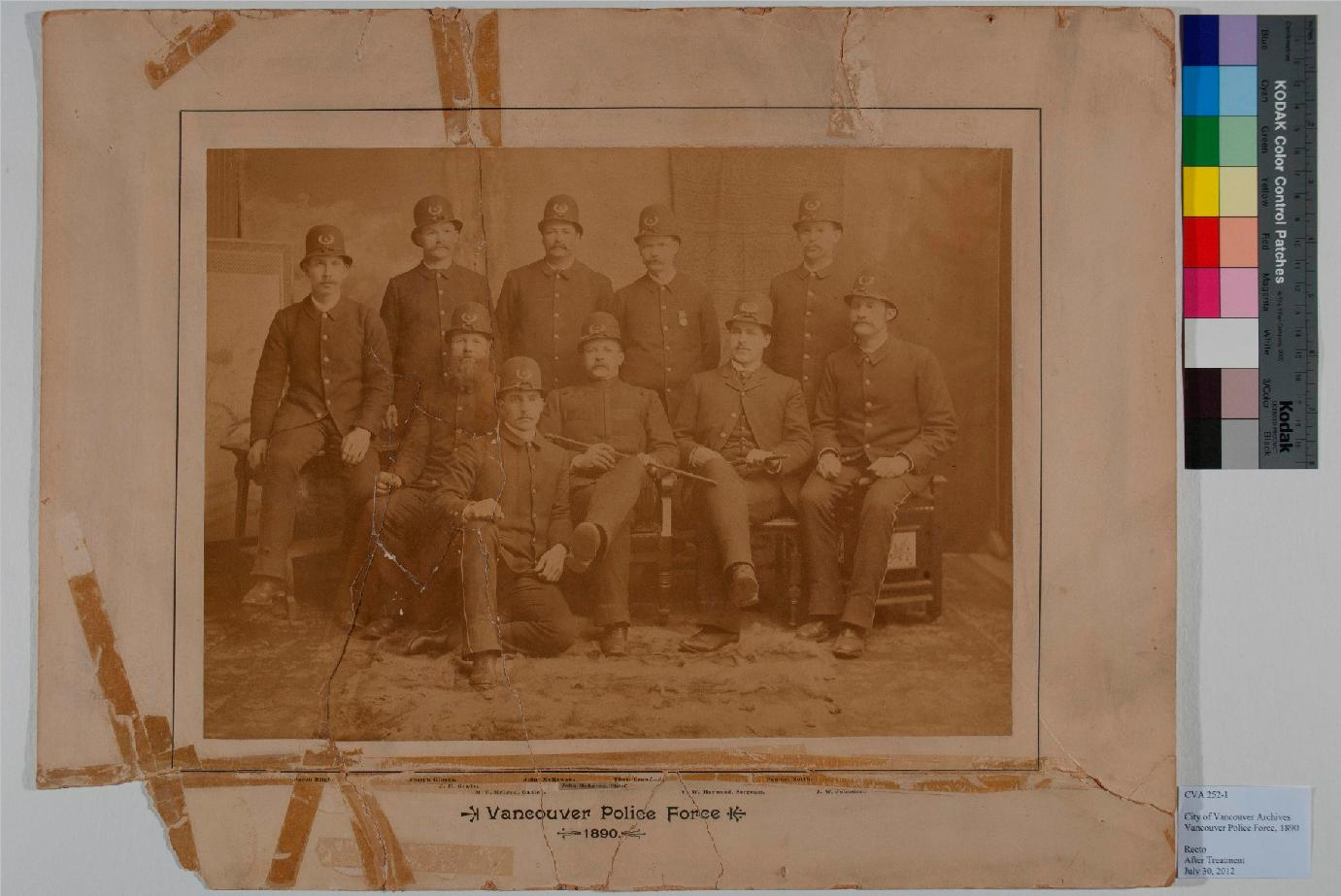 The albumen print of the 1890 Vancouver Police after treatment.
