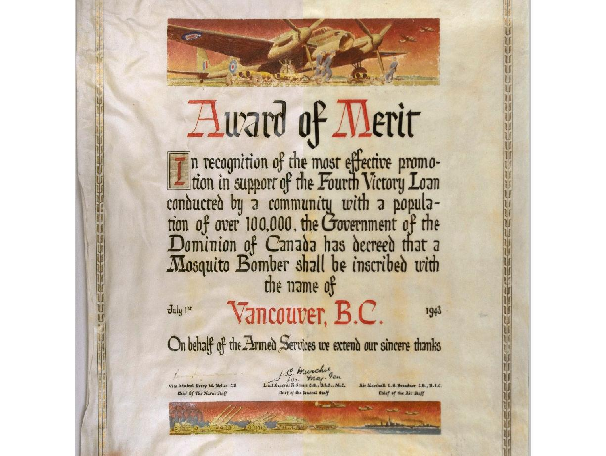 The Award of Merit 1943, one of the many spectacular works of art found in the Archives. This image consists of merged photographs of the parchment before (left) and after (right). treatment.
