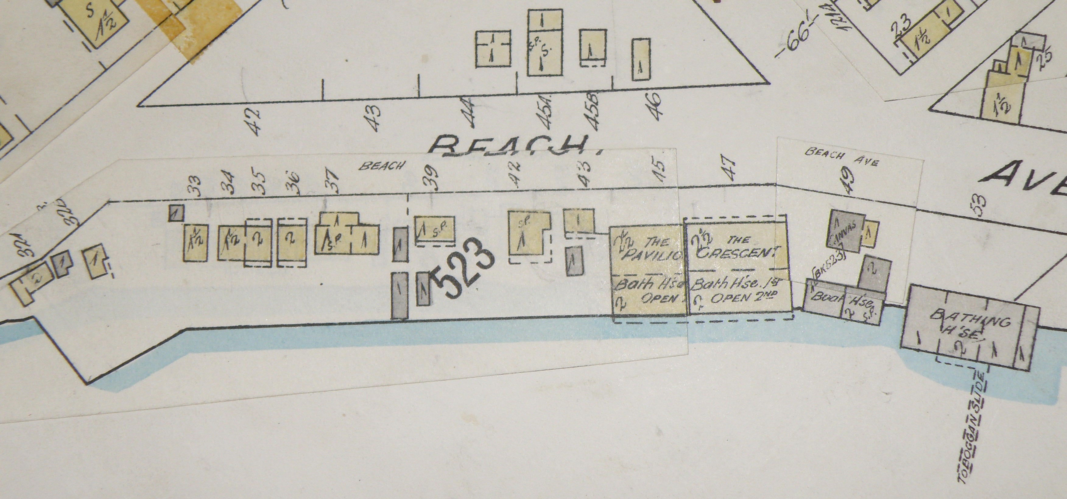 Detail from Map 384, showing buildings further along Beach Avenue. Note the toboggan slide in the lower right corner!