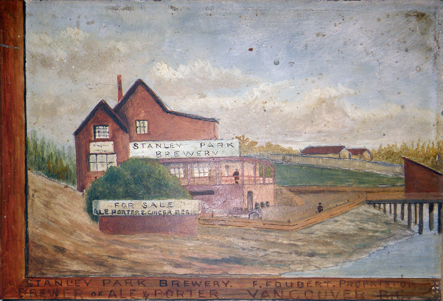 Detail from Stanley Park entrance and Stanley Park Brewery. Painted in 1897. Artist anonymous. Reference code AM1562-: 72-574.