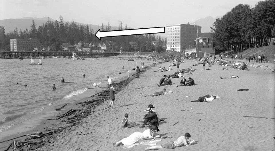 English Bay beach, showing bathers and surrounding buildings, about 1913. Detail from Reference code AM54-S4-: LGN 1030