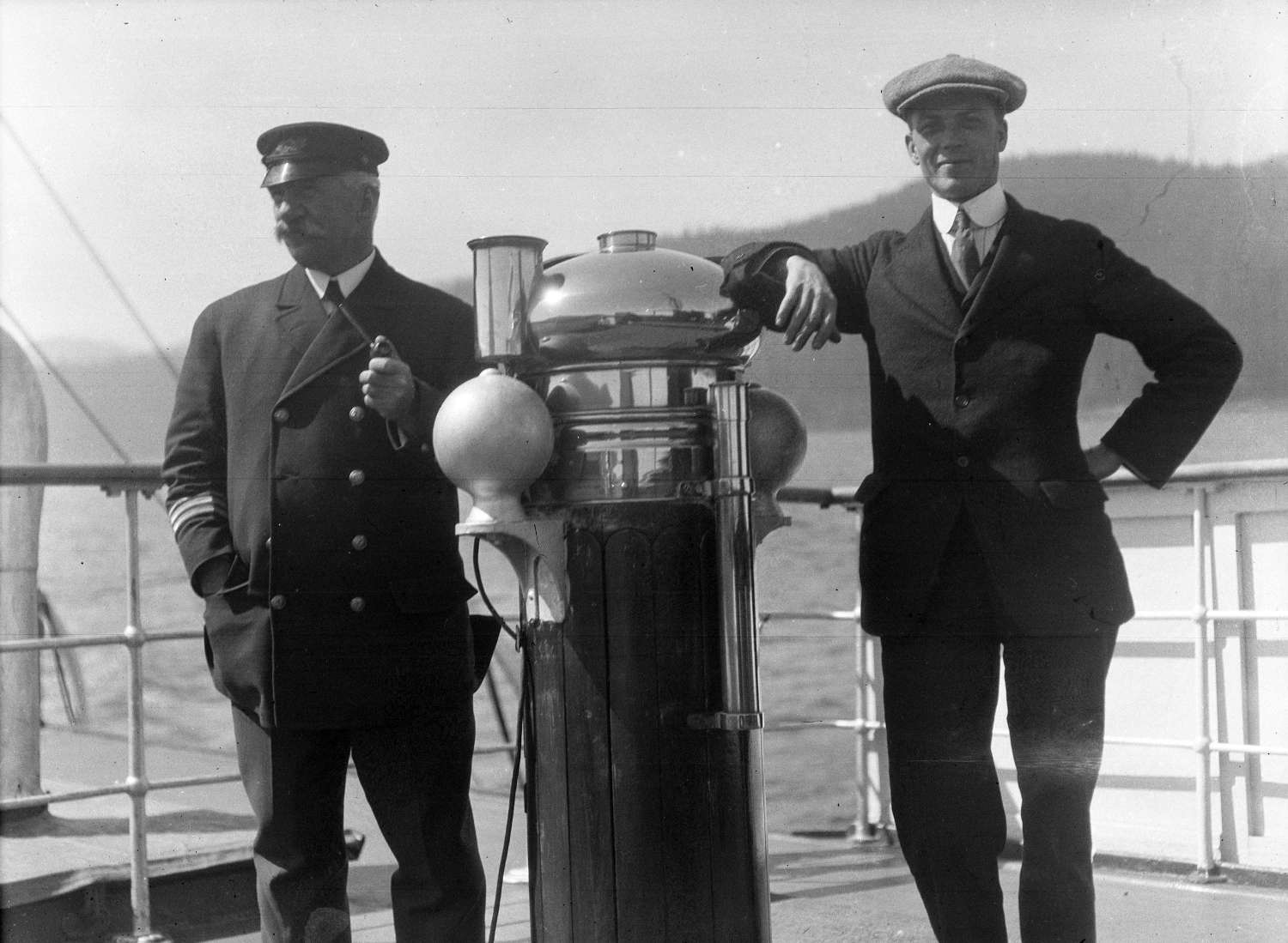 Captain Browne and Williams aboard S.S. Camosun, ~1918. Reference code AM640-: CVA 260-1090.