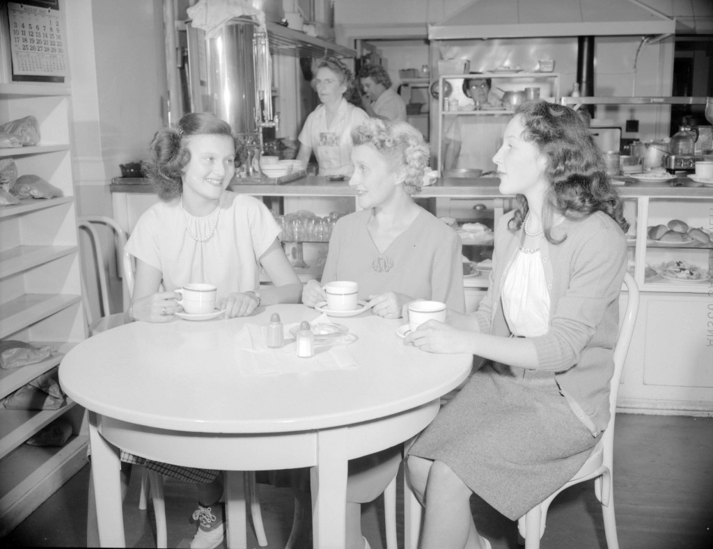 B.C. Telephone employees in the staff cafeteria. August, 1947. Jack Lindsay photographer. Reference code: AM1184-S1-: CVA 1184-2889