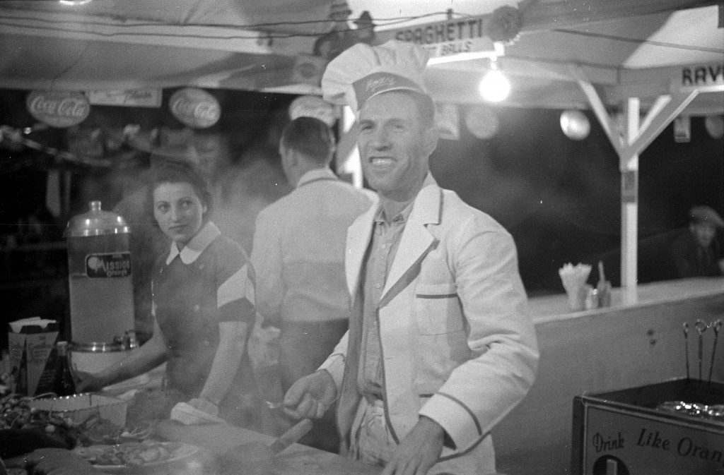 Cook and woman in concession stand, 1938. James Crookall, photographer.  Reference code: AM640-: CVA 260-938