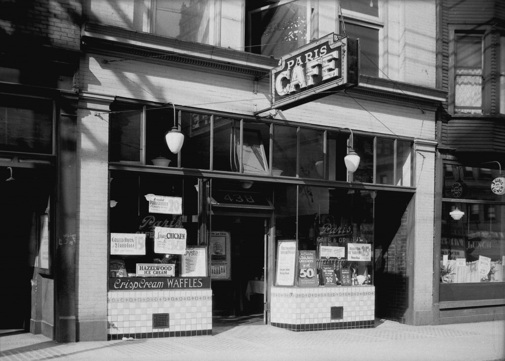 Paris Cafe exterior, 438 Pender Street West, 1932. Stuart Thompson photographer.  Reference code: AM1535-: CVA 99-2646