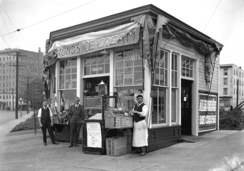 Almond's Ice Cream Store, English Bay, ca. 1920. Stuart Thomson, photographer. Reference code: AM1535-: CVA 99-3097