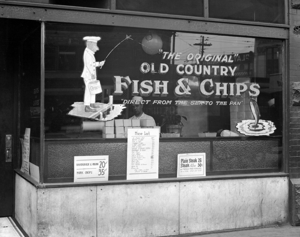 """The Original"" Old Country Fish and Chips store, 6 East Hastings Street, 1923. Stuart Thomson, photographer. Reference code: AM1535-: CVA 99-3455"