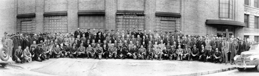 Group portrait of the American Society of Sugar Beet Technologists attending a conference January 12-14, 1946 in Denver, Colorado. There is one woman in the photo—can you locate her? Reference code: 2011-092.1438.