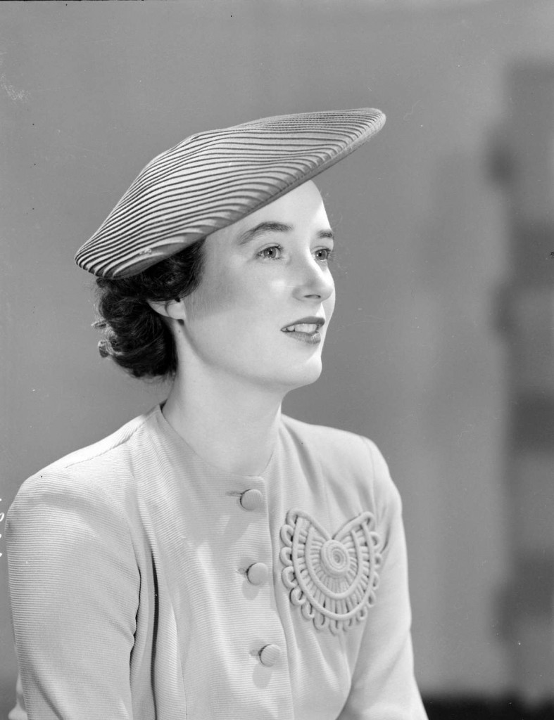 Woman modelling a hat for Spencer's catalogue, 1944. Reference code AM1545-S3-: CVA 586-1876. Photographer Don Coltman.