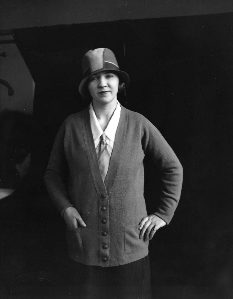 Woman modeling a cardigan outfit for David Spencer Stores, ca. 1920. Reference code AM1535-: CVA 99-1452. Photographer Stuart Thomson.