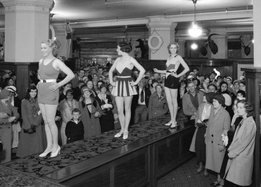 Swim suit fashion show at Hudson's Bay Company. May 31, 1932. Detail from reference code AM1535-: CVA 99-4193. Photographer Stuart Thomson.