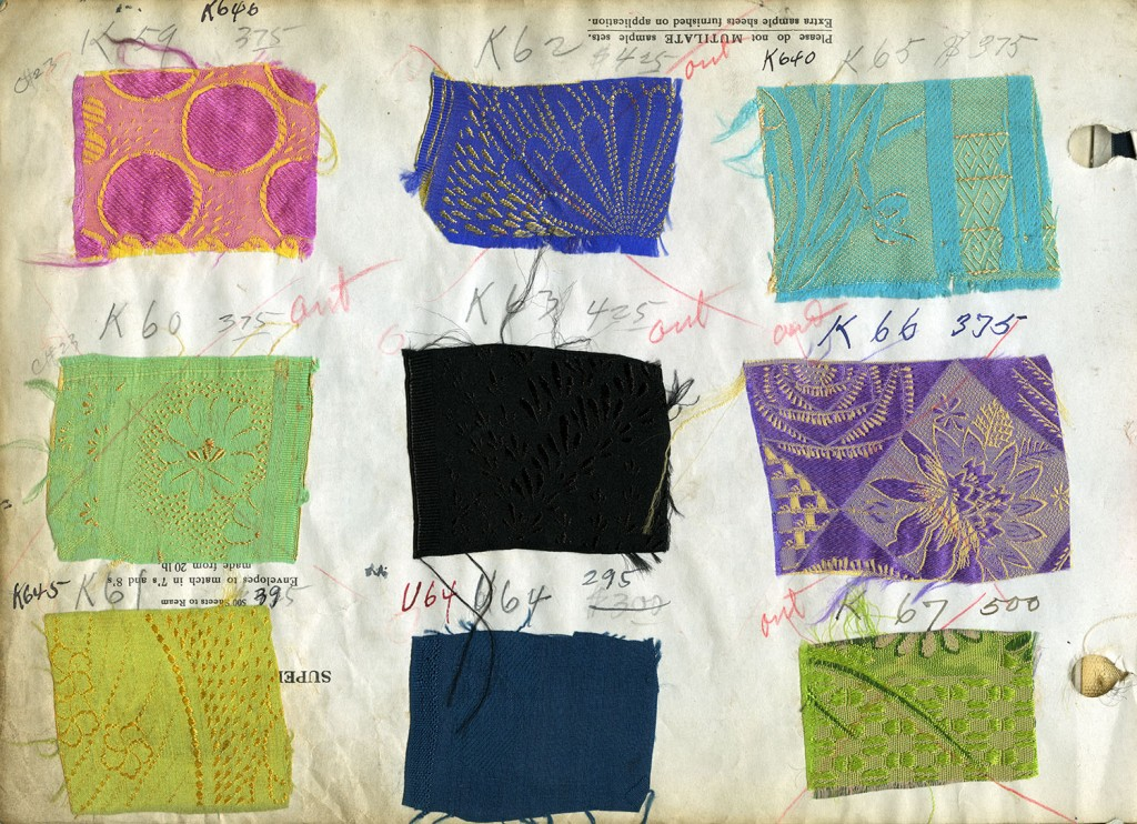 One page of silk samples from Kuo Kong Silk Company catalogue. Catalogue was compiled from 1922-1962. Reference code AM369-S1, file-Catalogues of silk samples.