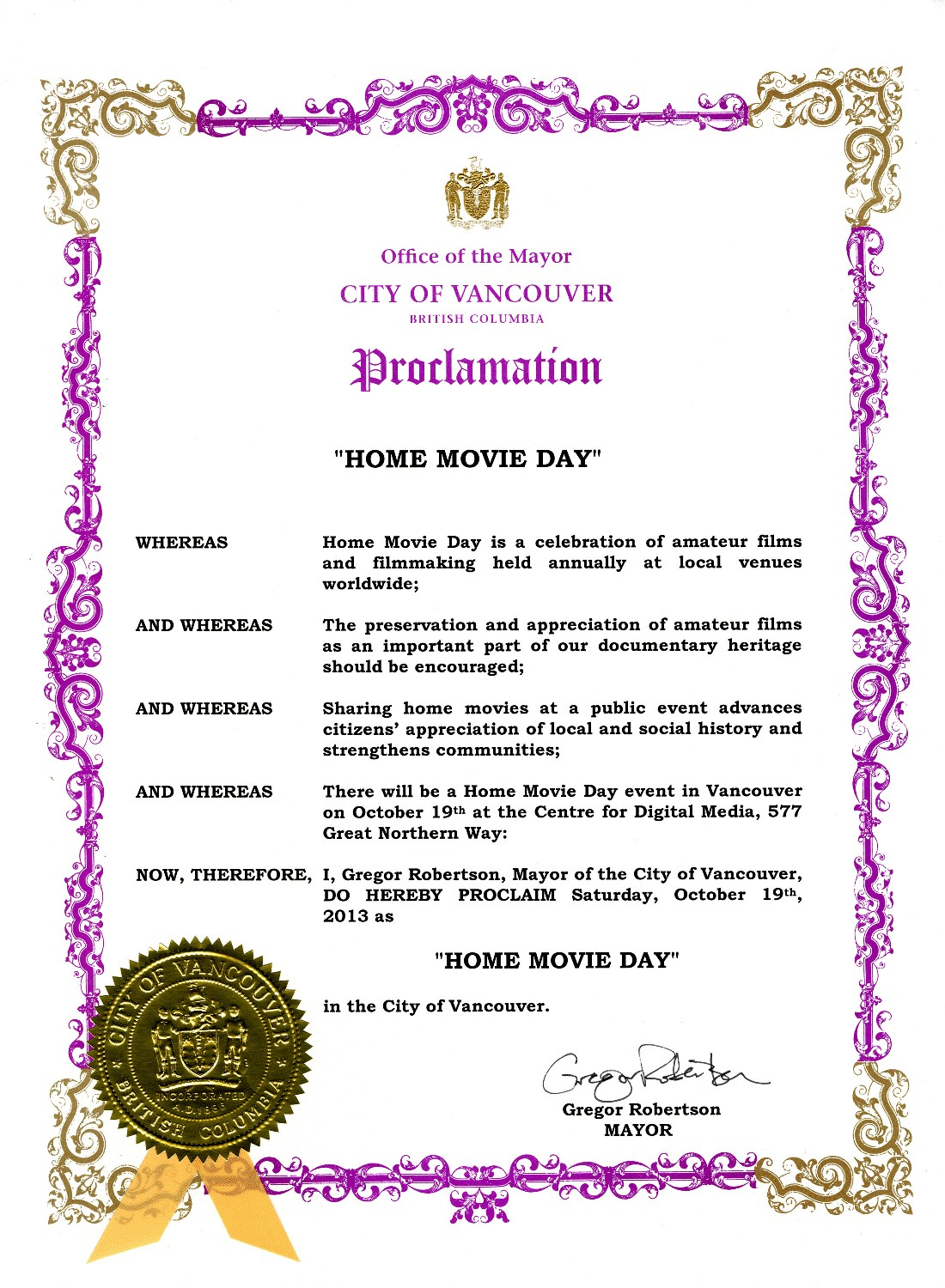 Home Movie Day 2013 proclamation, City of Vancouver