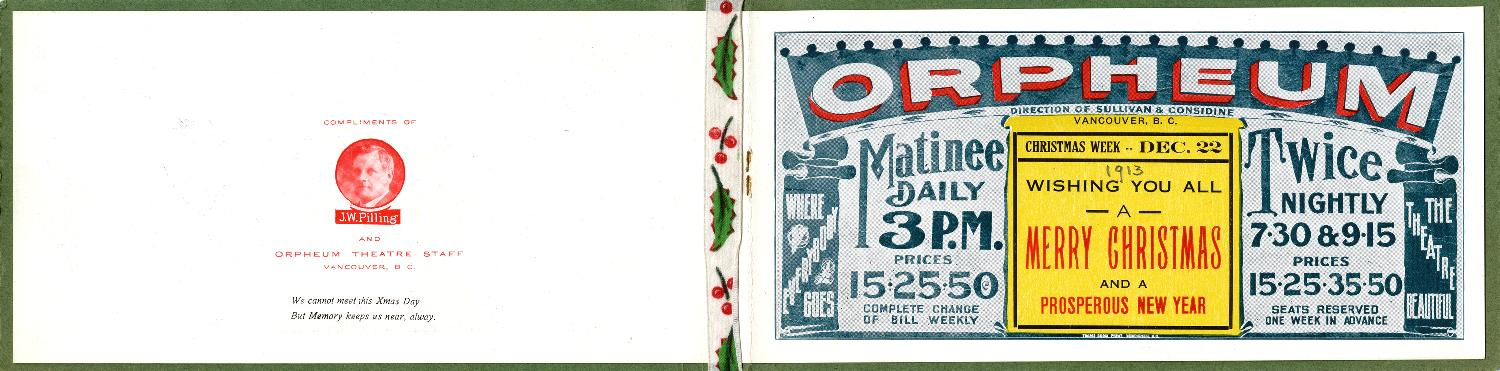 Orpheum Holiday Card 1913