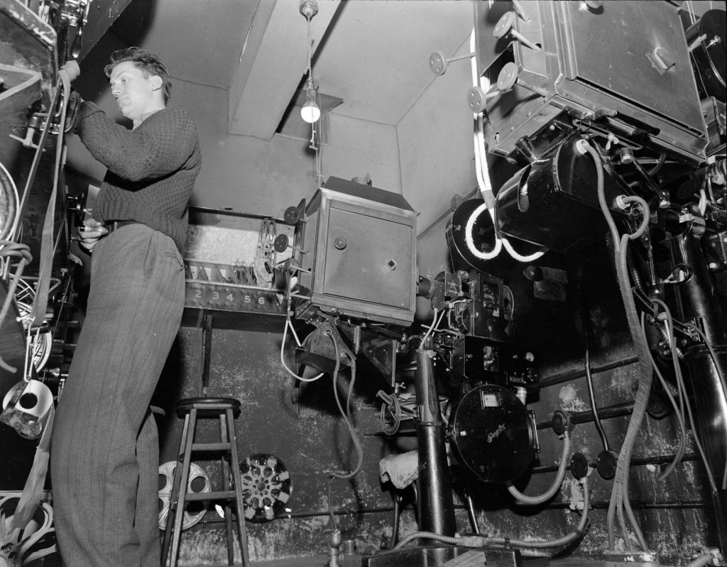 The projection booth at Pacific Mills (1944). Reference code: AM1545-S3-: CVA 586-3284.