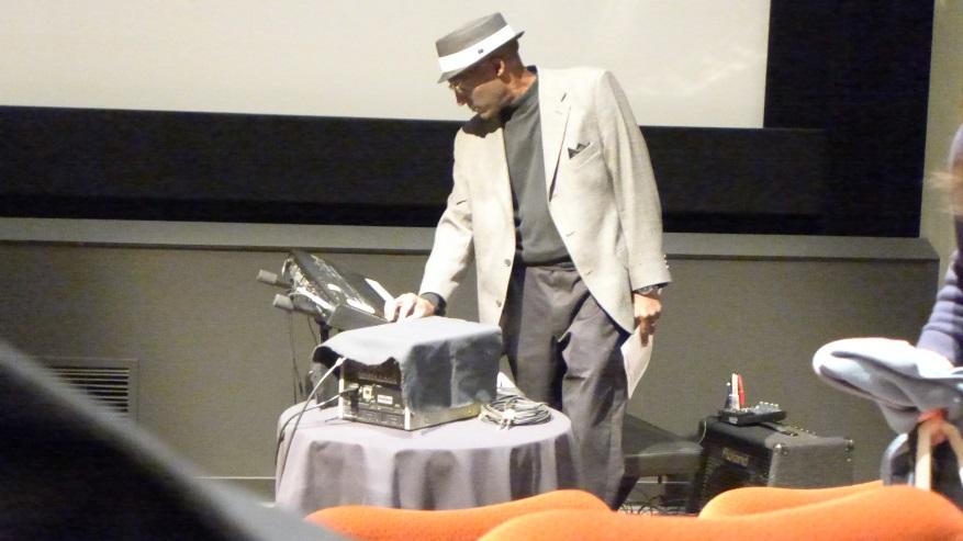 Wayne Stewart provides musical accompaniment to the screening. Photograph by Bryan Chong.