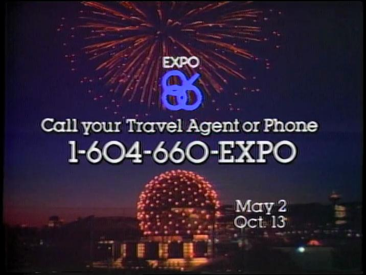 Still from Expo 86 North American Consumer Television Campaign (1985). Reference code: AM1487-: 2006-105.1.