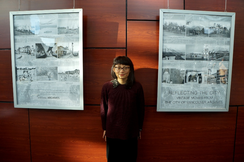 Kristine Aguilar and her poster designs. Photograph by Jeffery Chong.