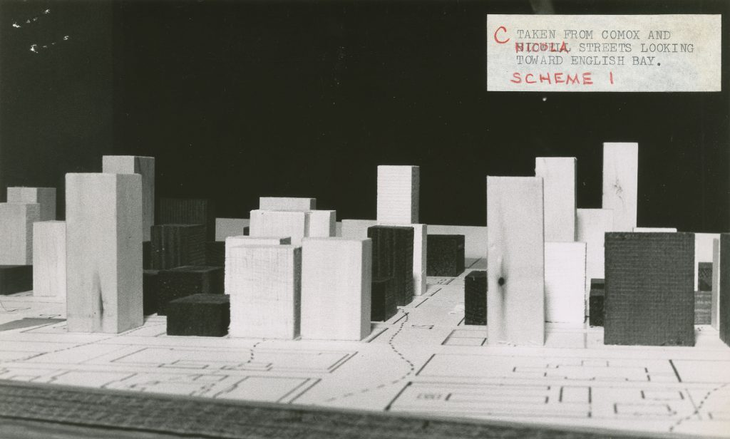 Photograph of West End view obstruction study model. From file COV-S648-F0662